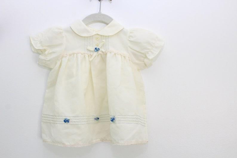 Vintage Baby Dress Cream Baby Dress Pastel Baby Dress Blue image 0