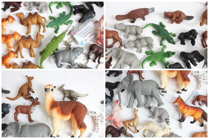 Wholesale Lot of 73 Assorted Plastic Animal Figurines, Elephant, Dinosaur,  Tiger, Bear, Dog, Fox, Deer, Alpaca, Camel, Hippo, Rhino Keychain