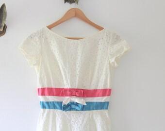 White Eyelet Dress, Midi Dress, Eyelet Midi Dress, Wiggle Dress, Pencil Dress, White Lace Dress, Vintage Wedding Dress, Eyelet Lace Dress
