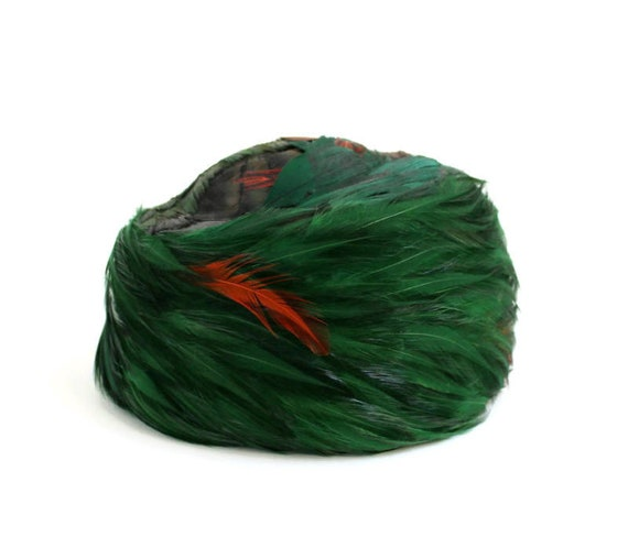 Vintage Pillbox Hat, Green Pillbox Hat, Feathered