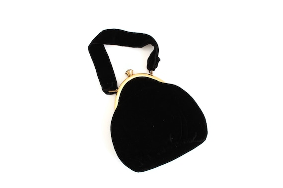 Vintage Black Velvet Purse with Rhinestone, Black