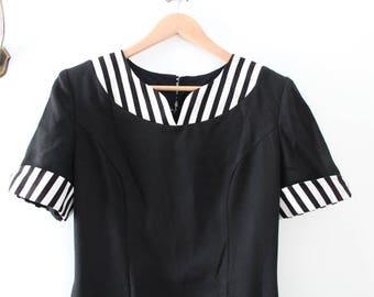 Vintage Dress, Black Dress, Striped Dress, Black & White Dress, Black and White Striped Dress, Pencil Dress, Wiggle Dress Short Sleeve Dress