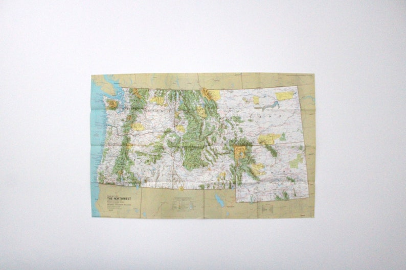 Vintage 1973 National Geographic Double Sided Wall Map of image 0