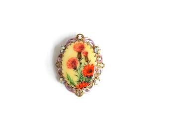 Flower Brooch, Flower Pin, Orange Flower Brooch, Orange Flower Pin, Painted Flower Brooch, Painted Flower Pin, Filigree Brooch, Filigree Pin