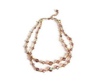 Aurora Borealis Necklace, Double Strand Bronze Crystal Necklace Bronze Iridescent Necklace Crystal Aurora Borealis Necklace Crystal Necklace
