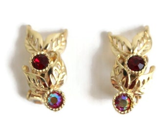 Gold Leaf Earrings, Red Earrings, Red Rhinestone Earrings, Red Clip On Earrings, Gold Clip on Earrings, Rhinestone Clip On Earrings, Clip On
