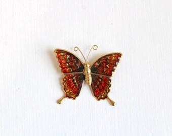 Butterfly Pin, Butterfly Brooch, Orange Butterfly Pin Orange Butterfly Brooch Gold Butterfly Pin Gold Butterfly Brooch Glitter Butterfly Pin