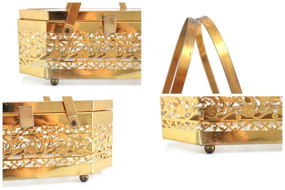 Vintage Brass Box Purse, Vintage Box Purse, Gold … - image 3