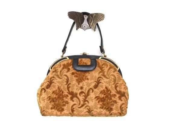 Vintage Tapestry Purse, Tapestry Handbag, Velvet T