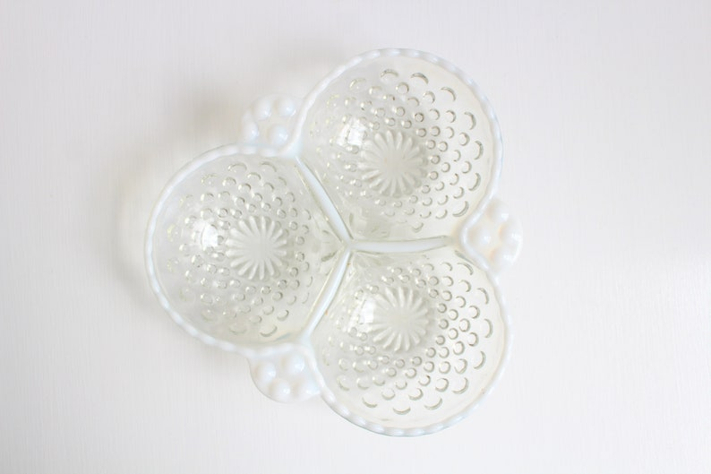 Vintage Ring Dish Glass Ring Dish Opalescent Dish White image 0