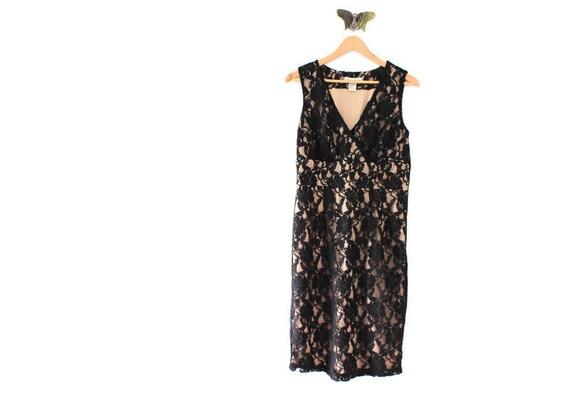 Vintage Black & Nude Lace Dress, Black Lace Dress,