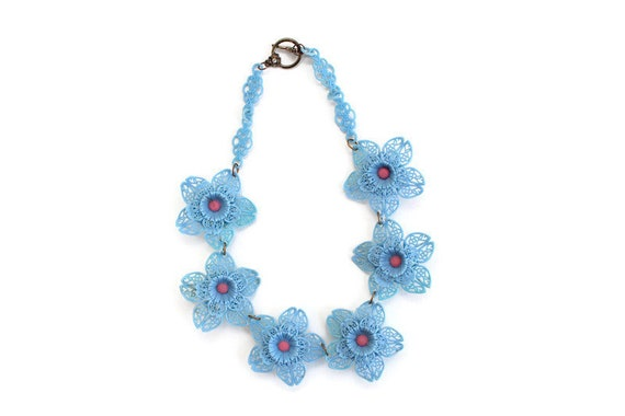 Blue Celluloid Flower Necklace, Celluloid Flower N