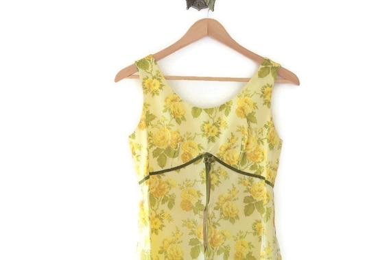Vintage Dress, Yellow Vintage Dress, Floral Vintag