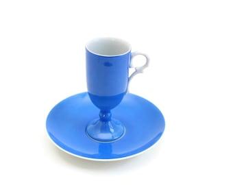 Blue Teacup Set, Cobalt Blue Teacup Set, Blue & White Teacup Set, Blue Footed Teacup Set, Blue Pedestal Teacup Set, Blue Teacup Planter