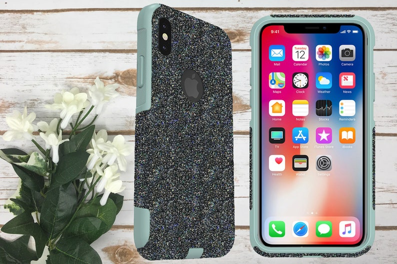new style 67620 dbf44 Otterbox iPhone X Case, iPhone X Glitter, iPhone 10 Otterbox Commuter Case,  Glittery Case for Girls, Sparkly Otterbox iPhone X Case Teal