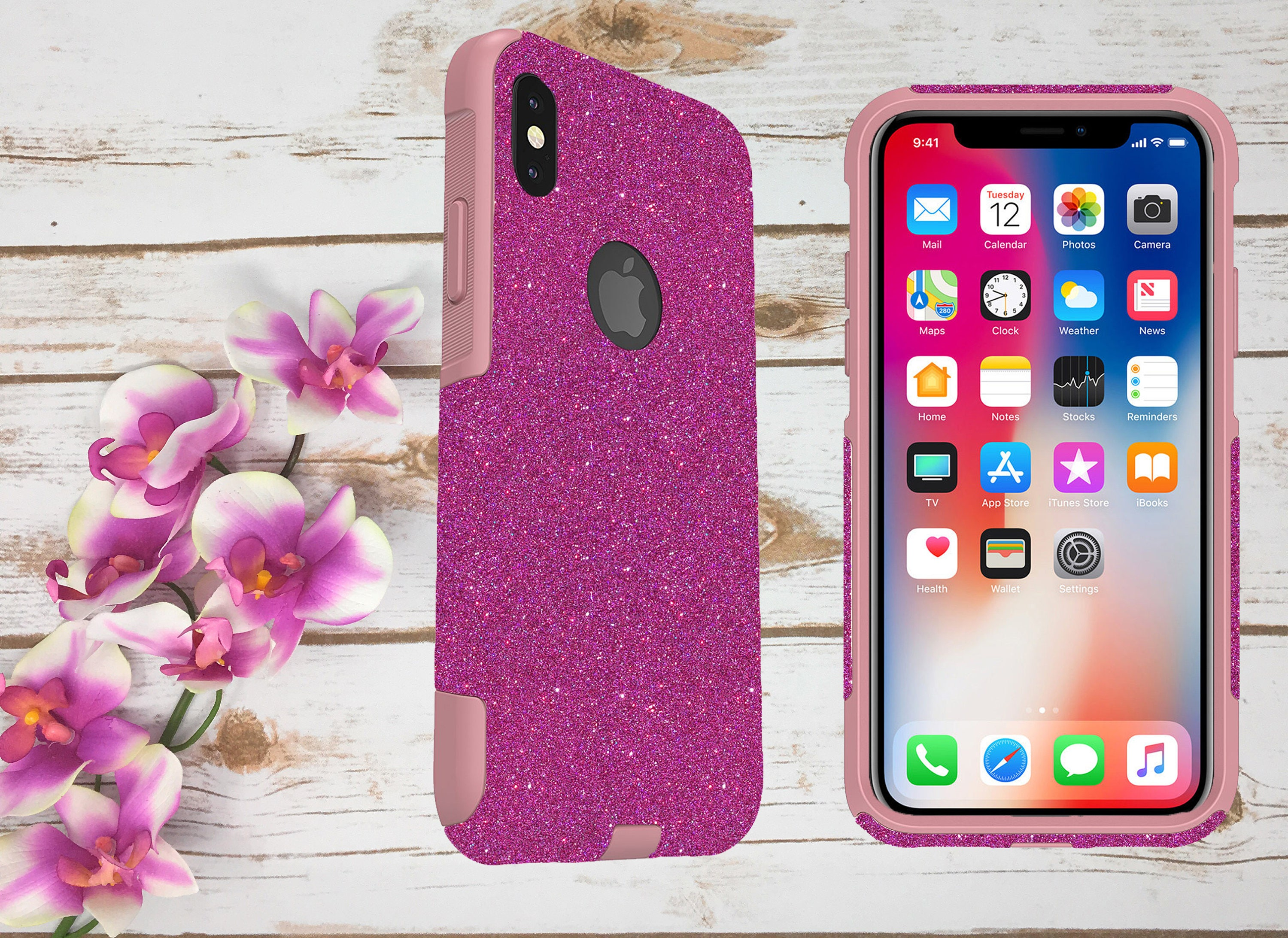 iPhone X Case Otterbox, Case for iPhone X, iPhone 10 Otterbox Commuter  Case, Glittery Case for Girls, Sparkly Otterbox iPhone X Case Cover