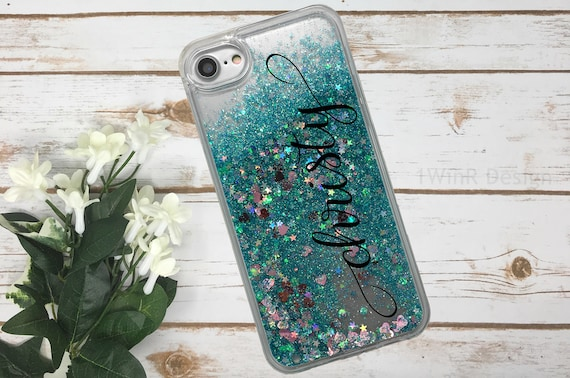 iPhone X Floating Glitter iPhone 7 Plus case Personalized  3bee74485216