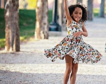 Summer Floral Gathered Ballet Dress