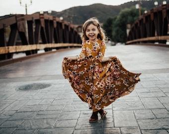 Girls Mustard Floral Bespoke Dress