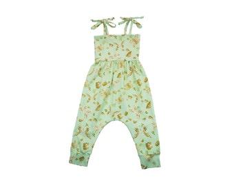 ORGANIC Baby Harem Romper, Toddler Harem Romper, Girls Romper, Baby Romper, Toddler Romper, Harem Romper, Baby Girl Romper, Flutterby Romper