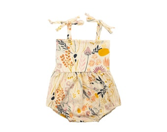 Bubble Romper, Sunsuit, Baby Bubble Romper, Toddler Bubble Romper, Baby Sunsuit, Toddler Sunsuit, Girls Romper in Windswept Prairie Floral