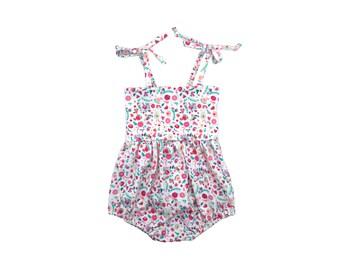 Bubble Romper, Sunsuit, Baby Bubble Romper, Toddler Bubble Romper, Baby Sunsuit, Toddler Sunsuit, Girls Romper, Bonny Blooms Floral Romper