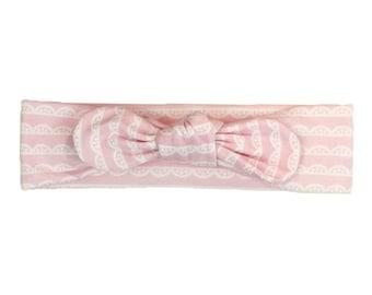 Baby Headband, Toddler Headband, Adult Headband, Baby Girl Headband, Top Knot Headband, Bow Headband, Pink Headband, Pink Scalloped Lace