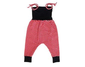 Minnie Mouse Romper, Baby Harem Romper, Toddler Harem Romper, Girls Romper, Baby Romper, Toddler Romper, Polka Dot Romper, Baby Girl Romper