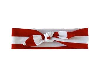 Baby Headband, Toddler Headband, Adult Headband, Baby Girl Headband, Top Knot Headband, Bow Headband, Striped Headband, Red and White Stripe