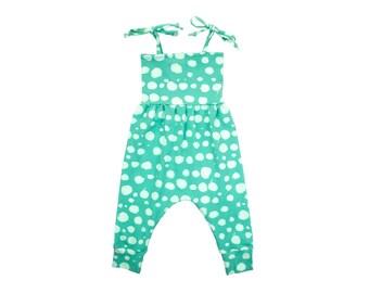 Baby Harem Romper, Toddler Harem Romper in Aqua Dot Polka Dot, Girls Romper, Baby Romper, Toddler Romper, Harem Romper, Baby Girl Romper