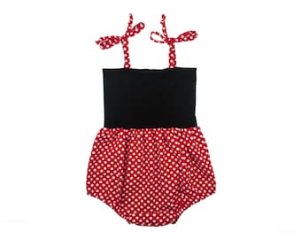 Bubble Romper, Sunsuit, Baby Bubble Romper, Toddler Bubble Romper, Baby Sunsuit, Toddler Sunsuit in Minnie Mouse Red with White Polka Dots
