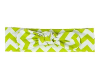 Baby Headband, Toddler Headband, Adult Headband, Baby Girl Headband, Top Knot Headband, Bow Headband, Lime Green and White Chevron Headband