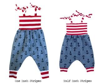 Baby Harem Romper, Toddler Harem Romper, Girls Romper, Baby Romper, Toddler Romper, Harem Romper, Baby Girl Romper, Nautical Anchor Chambray