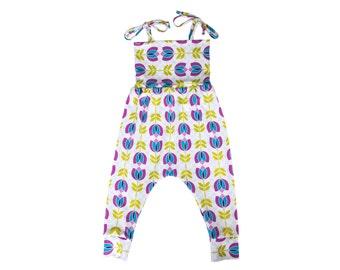 Baby Harem Romper, Toddler Harem Romper, Girls Romper, Baby Romper, Toddler Romper, Harem Romper, Baby Girl Romper, Floral Romper, Mod Tulip