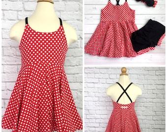 Minnie Mouse Festival Dress, Girls Dress, Baby Dress, Toddler Dress, Beach Dress, Summer Dress, Twirling Dress, Boho Dress, Red Polka Dot