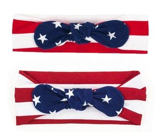 Baby Headband, Toddler Headband, Adult Headband, Baby Girl Headband, Top Knot Headband, Stars and Stripes, 4th of July Fourth, Memorial Day