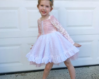 RTS One of a Kind Size 5 Party Dress. Crushed Pink Velvet, White Lace.