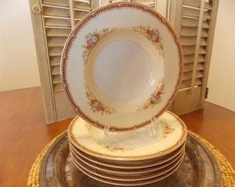 SOUP / SALAD BOWLS, Set of 6 Mix & Match Floral China Bowls