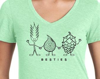 """Craft Beer shirt- """"Besties"""" Women's V-Neck"""