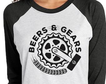 Bikes and Craft Beer- Gears & Beers- Unisex Baseball Tee