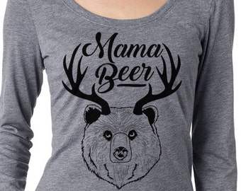 Craft Beer shirt- Mama Beer- long sleeve scoop neck