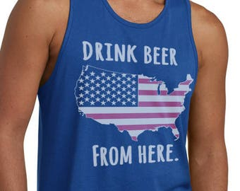 Craft Beer USA- United States- Drink Beer From Here Men's Tank