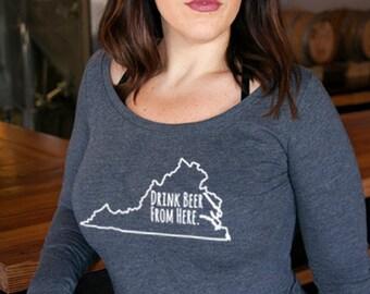 Craft Beer Virginia- VA- Drink Beer From Here™ Women's Long Sleeve Shirt