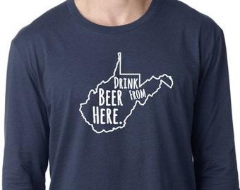 Craft Beer West Virginia- WV- Drink Beer From Here™ Long Sleeve Shirt