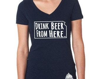 Craft Beer Shirt- Kansas- KS- Drink Beer From Here- Women's v-neck t-shirt