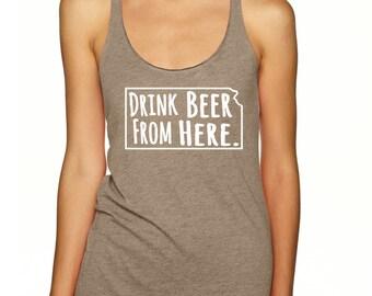 Craft Beer Shirt- Louisiana- LA- Drink Beer From Here- Women's racerback tank