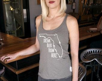 Craft Beer Shirt- Florida- FL- Drink Beer From Here- Women's racerback tank
