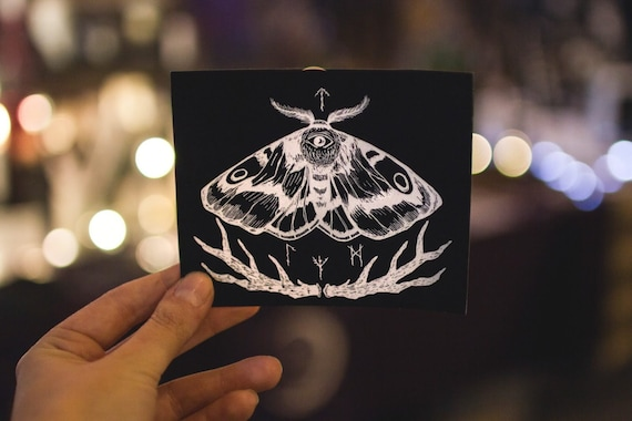 Visionary Moth with Runes    Antlers viking moth sticker  d35090076a6