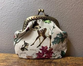 Bambi handmade fabric coin change purse card holder