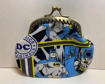Superman man marvel dc comic handmade fabric coin change purse zipper pouch